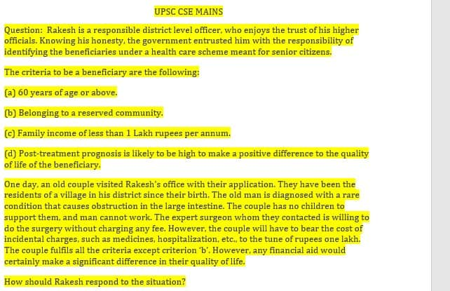 upsc ethics case study previous year
